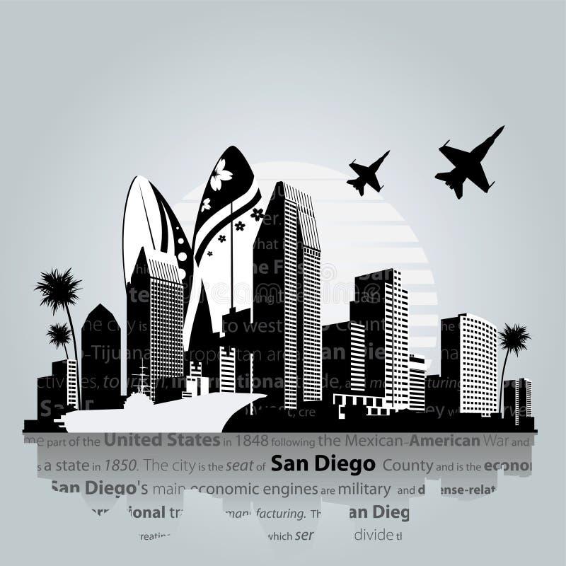 Vecteur de paysage urbain de San Diego illustration stock