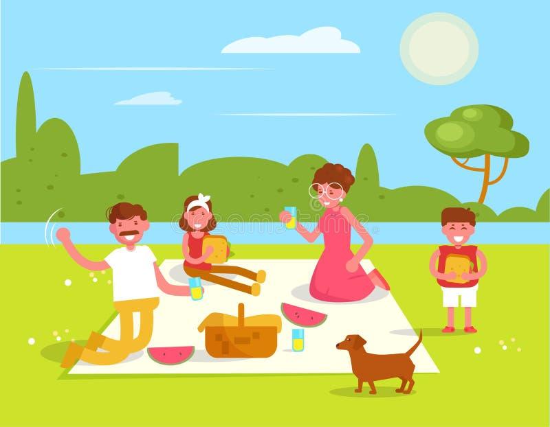 Vecteur de pique-nique de famille cartoon Art d'isolement plat illustration libre de droits