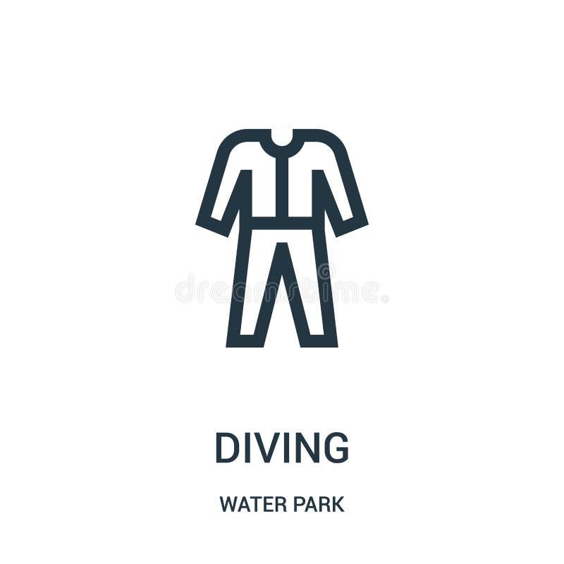 vecteur de plongée d'icône de collection de parc aquatique Ligne mince illustration de plongée de vecteur d'icône d'ensemble Symb illustration stock