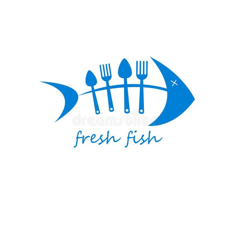 Vecteur de poissons de cuillère de fourchette faisant cuire la nourriture illustration libre de droits