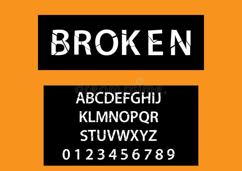 Vecteur de police cassée moderne et d'alphabet illustration stock