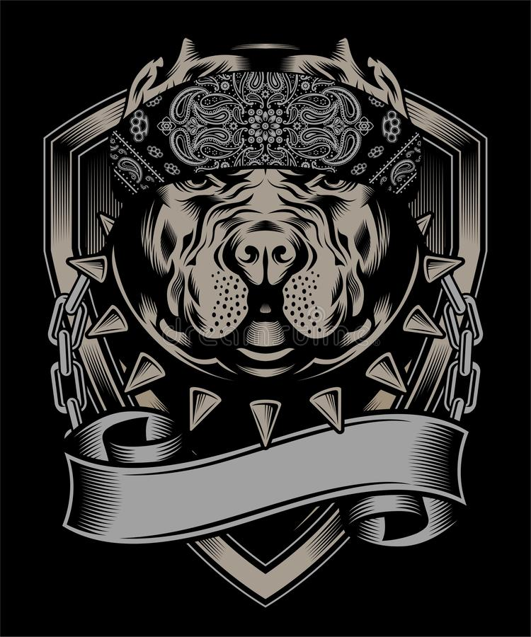 Vecteur de port de dessin de main de bandana de pitbull illustration libre de droits