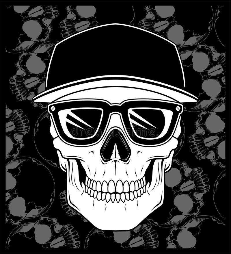 Vecteur de port en verre de chapeau de crâne illustration stock