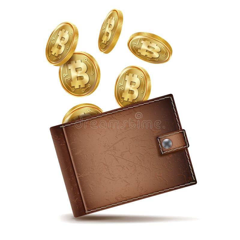 Vecteur de portefeuille de Bitcoin Argent brun symbole de bitcoin Pièce de monnaie d'or de crypto devise Vue supérieure Crayon le illustration libre de droits
