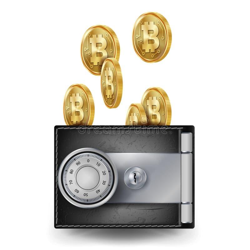 Vecteur de portefeuille de cuir de Bitcoin Fintech Blockchain Commerce de Bitcoins Verrouillé avec la serrure de code de combinai illustration libre de droits