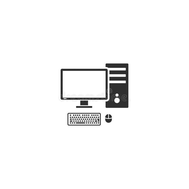 Vecteur 11 de poste de travail d'ordinateur de bureau illustration stock
