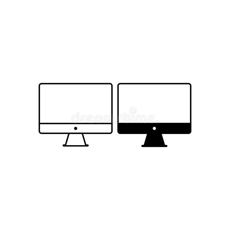 Vecteur 4 de poste de travail d'ordinateur de bureau illustration stock