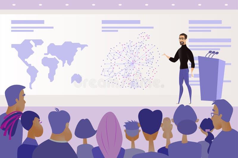 Vecteur de prise de parole en public de conférence ou de présentation illustration de vecteur