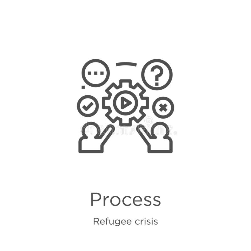 vecteur de processus d'icône de collection de crise de réfugié Ligne mince illustration de vecteur d'ic?ne d'ensemble de processu illustration stock