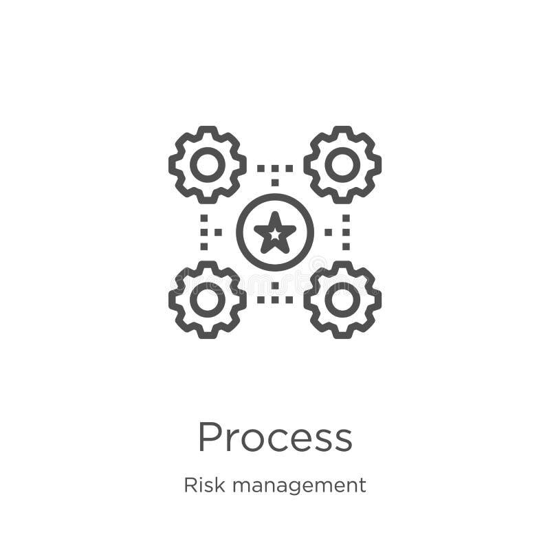 vecteur de processus d'icône de collection de gestion des risques Ligne mince illustration de vecteur d'icône d'ensemble de proce illustration stock
