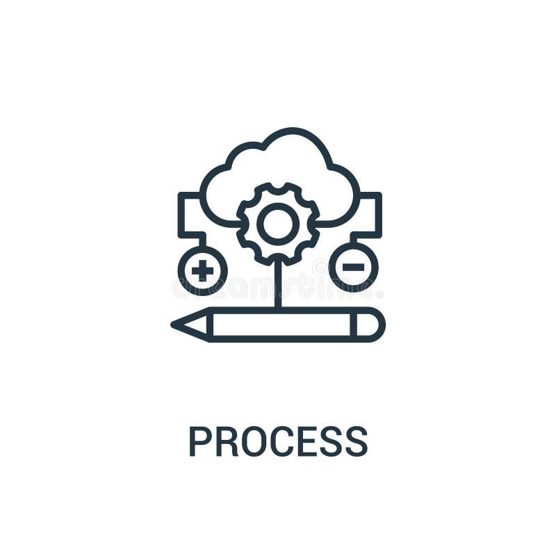 vecteur de processus d'icône de collection de seo Ligne mince illustration de vecteur d'icône d'ensemble de processus Symbole lin illustration stock