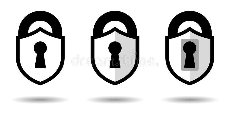 Vecteur de protection L'icône de bouclier dans le style d'un château Concept de construction graphique, fond d'isolement illustration libre de droits