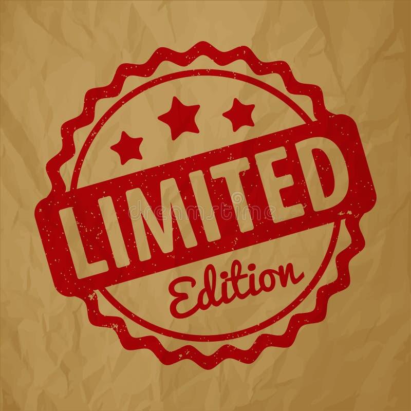 Vecteur de récompense de tampon en caoutchouc d'édition limitée rouge foncé sur un fond brun de papier chiffonné illustration stock