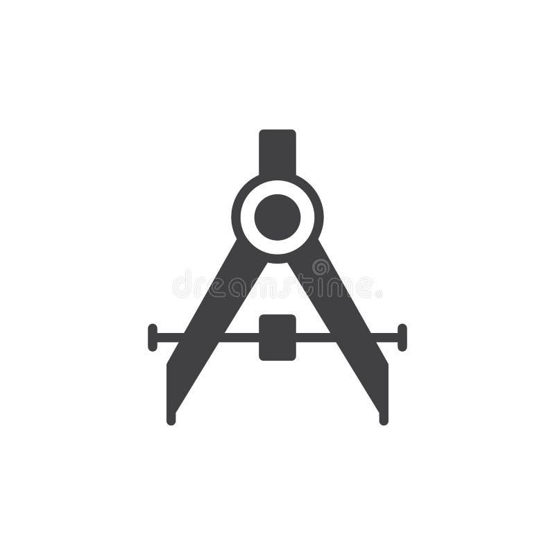 Vecteur de rédaction d'icône de boussole, signe plat rempli, pictogramme solide d'isolement sur le blanc illustration libre de droits