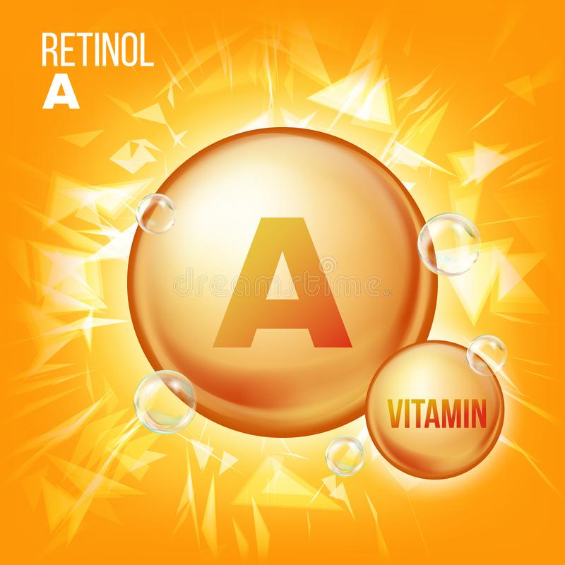 Vecteur de rétinol de vitamine A Icône de pilule d'huile d'or de vitamine Icône organique de pilule d'or de vitamine capsule Pour illustration stock