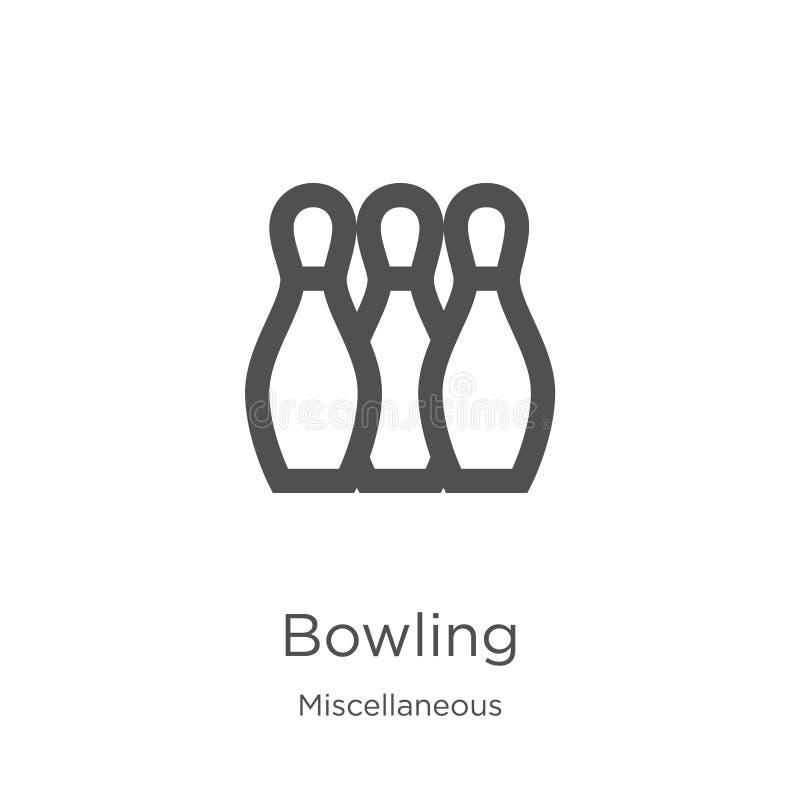 vecteur de roulement d'icône de la collection diverse Ligne mince illustration de vecteur d'icône d'ensemble de bowling Contour,  illustration de vecteur