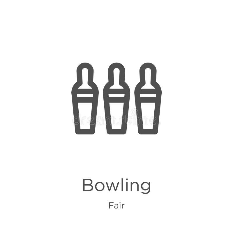 vecteur de roulement d'icône de la collection juste Ligne mince illustration de vecteur d'ic?ne d'ensemble de bowling Contour, li illustration libre de droits