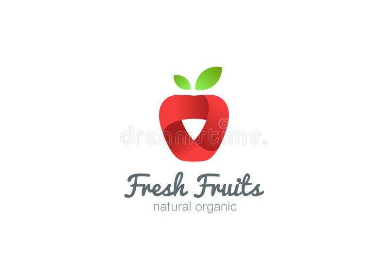 Vecteur de ruban de logo d'Apple Jus d'idée de fruit frais illustration libre de droits