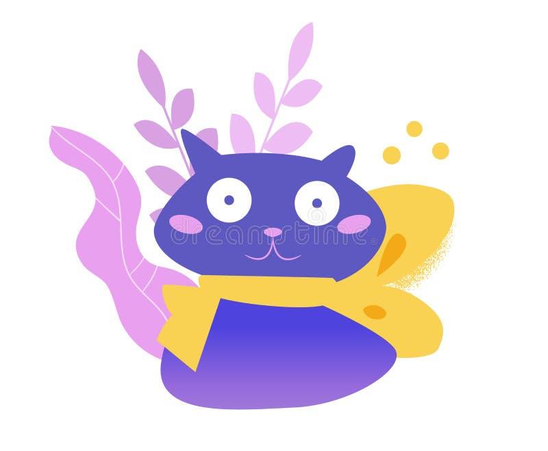 1 vecteur de série d'illustration de chat de dessin animé cartoon Art d'isolement sur le fond blanc illustration de vecteur