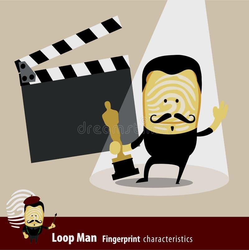 Vecteur de série de caractéristiques d'homme d'empreinte digitale acteur illustration de vecteur