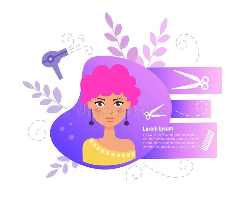 Vecteur de salon de coiffure cartoon Art d'isolement sur le fond blanc illustration de vecteur