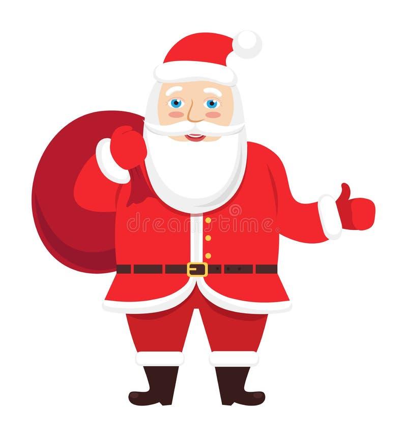 Vecteur de Santa Claus donnant le pouce vers le haut de Noël de main d'isolement sur le fond blanc illustration stock