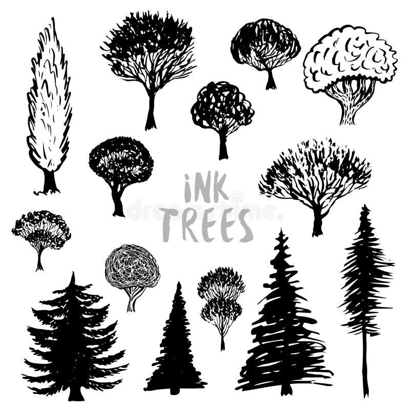 Vecteur de silhouette d'arbres Tiré par la main encré d'isolement illustration de vecteur
