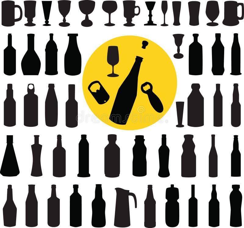 Vecteur de silhouette de bouteille et en verre photographie stock libre de droits