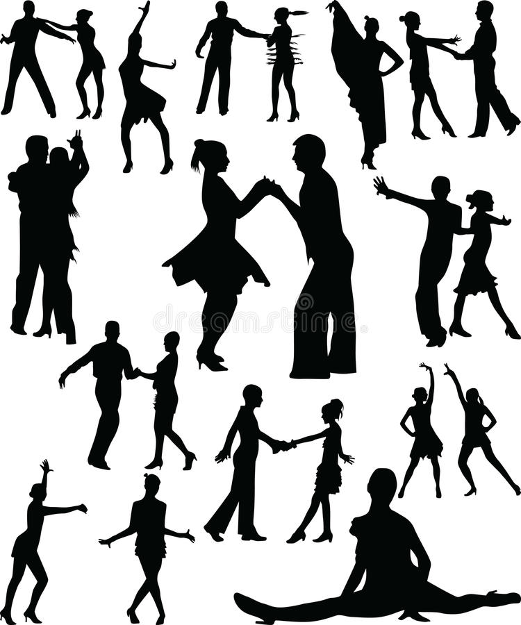 Vecteur de silhouette de gens de danse photos stock