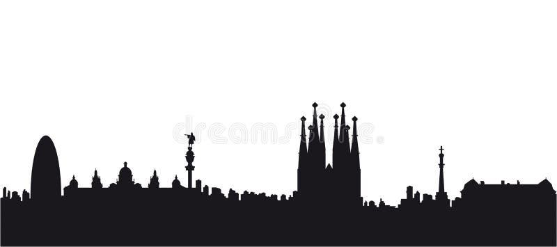 Vecteur de silhouette de noir de Barcelone illustration libre de droits