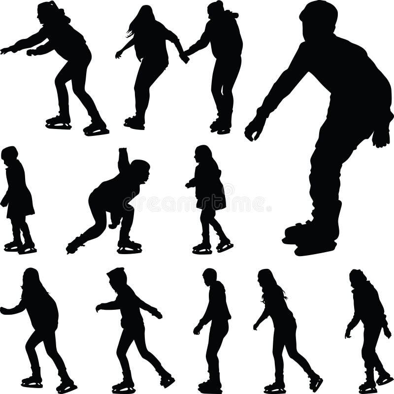 Vecteur de silhouette de patinage de glace illustration libre de droits