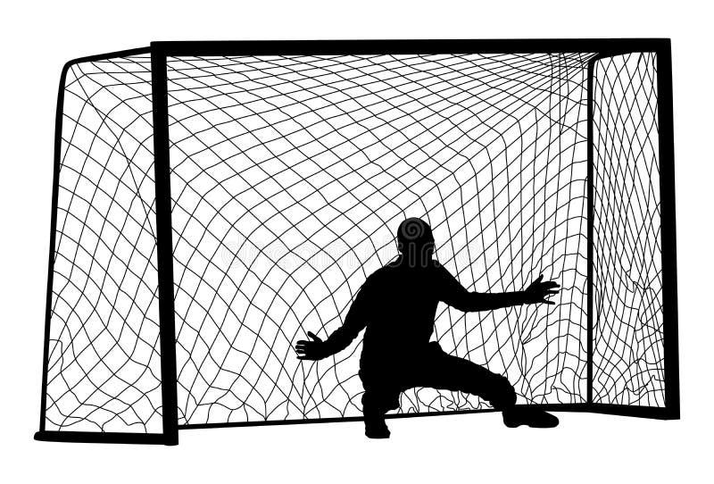 Vecteur de silhouette de gardien de but du football Position de sportif de défenseur Sauvez la pénalité illustration stock