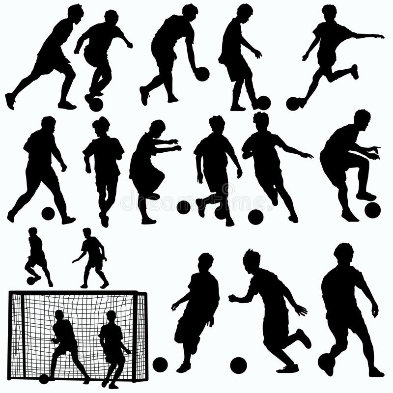 Vecteur de silhouettes de joueurs de Futsal illustration stock