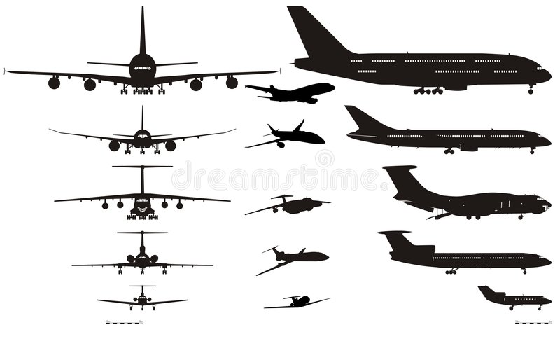 vecteur de silhouettes réglé par avions illustration stock