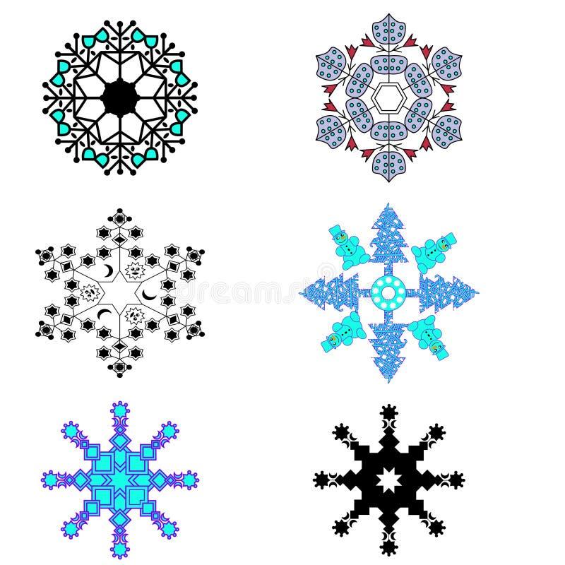 Vecteur de six flocons de neige différents réglés Concept de Noël d'hiver an neuf de thème illustration de vecteur