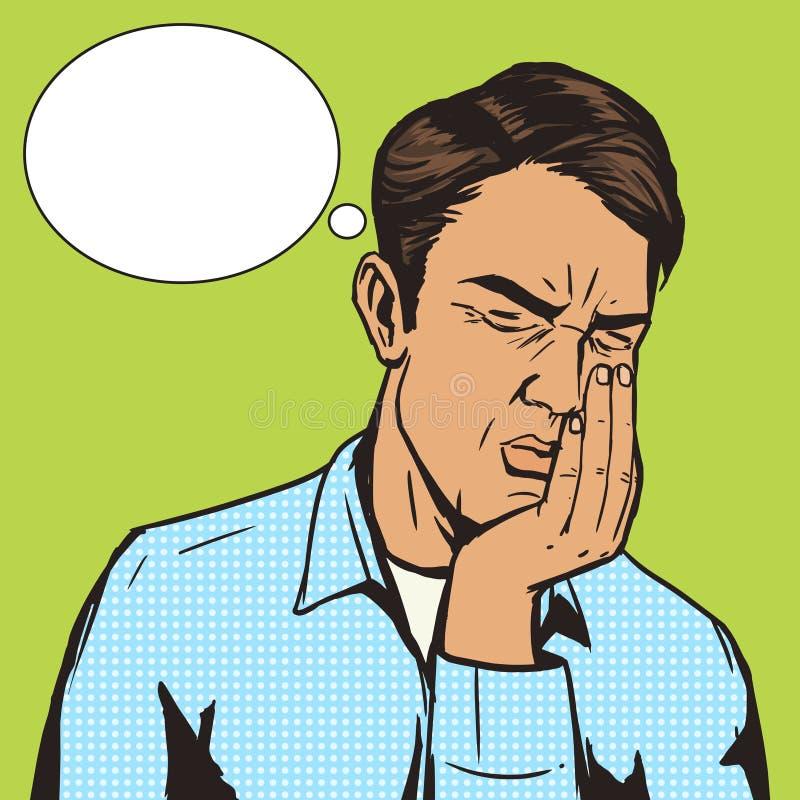 Vecteur de souffrance d'art de bruit de mal de dents d'homme rétro illustration de vecteur