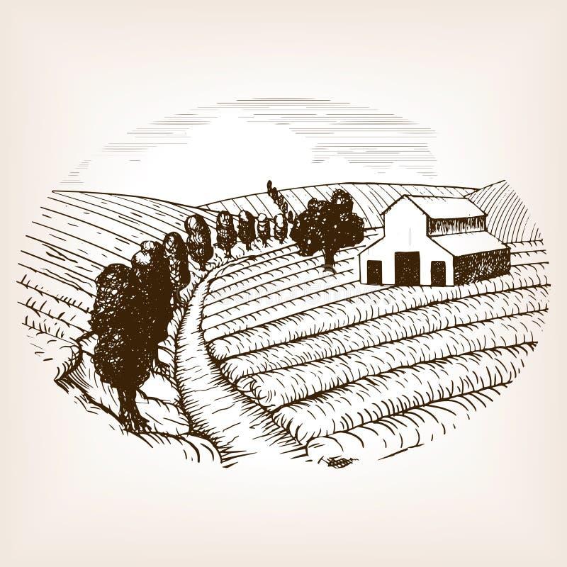 Vecteur de style de croquis de paysage de ferme illustration de vecteur
