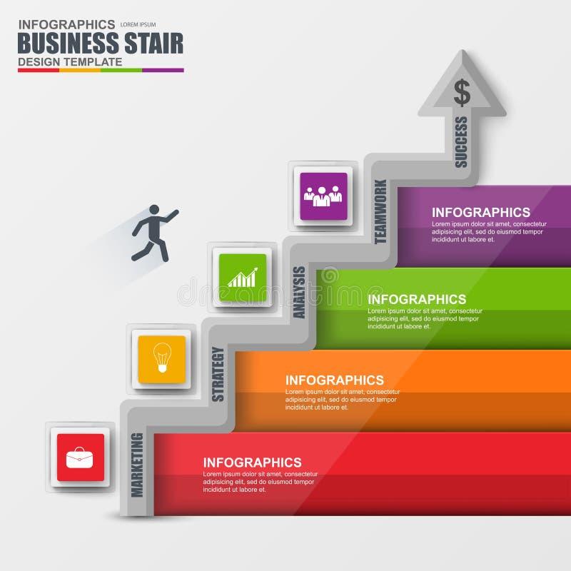 Vecteur de succès d'étape d'escalier d'affaires d'Infographics illustration de vecteur
