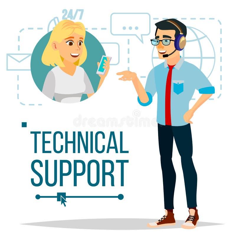 Vecteur de support technique 24 fonctionnements de 7 soutiens Support technique en ligne Illustration d'isolement par appartement illustration libre de droits