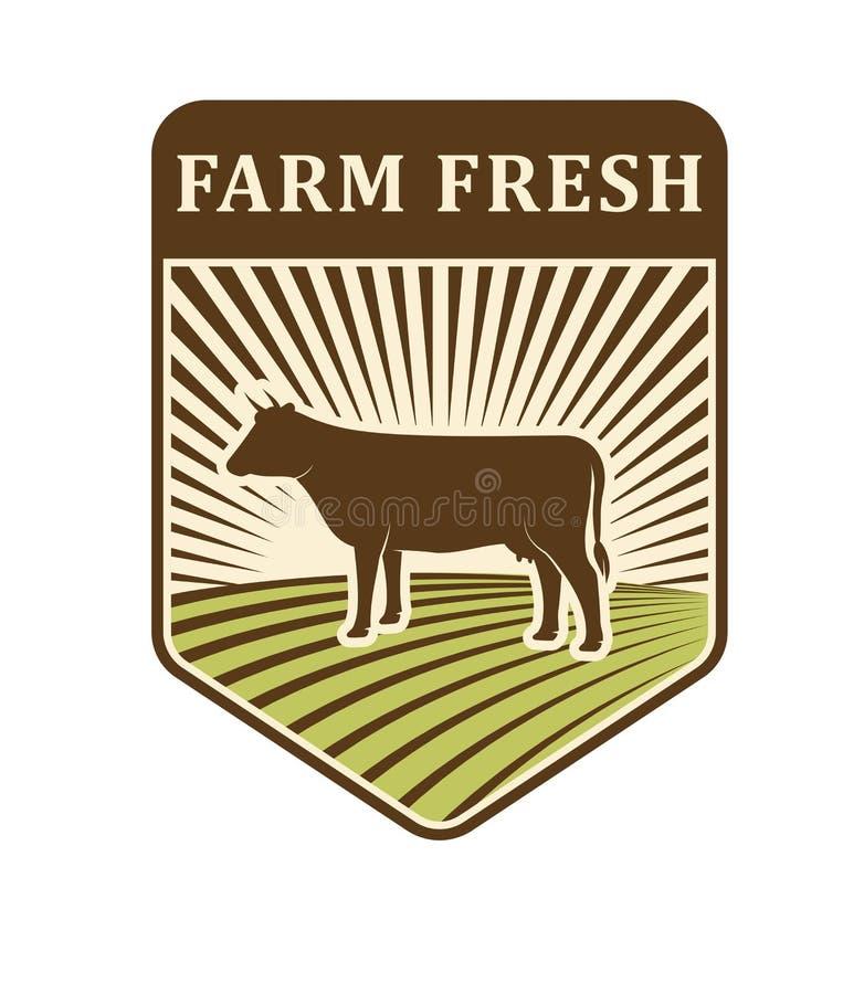 Vecteur de symbole d'agriculture de conception de production d'aliment biologique de label de ferme de gisements de nature rétro illustration libre de droits