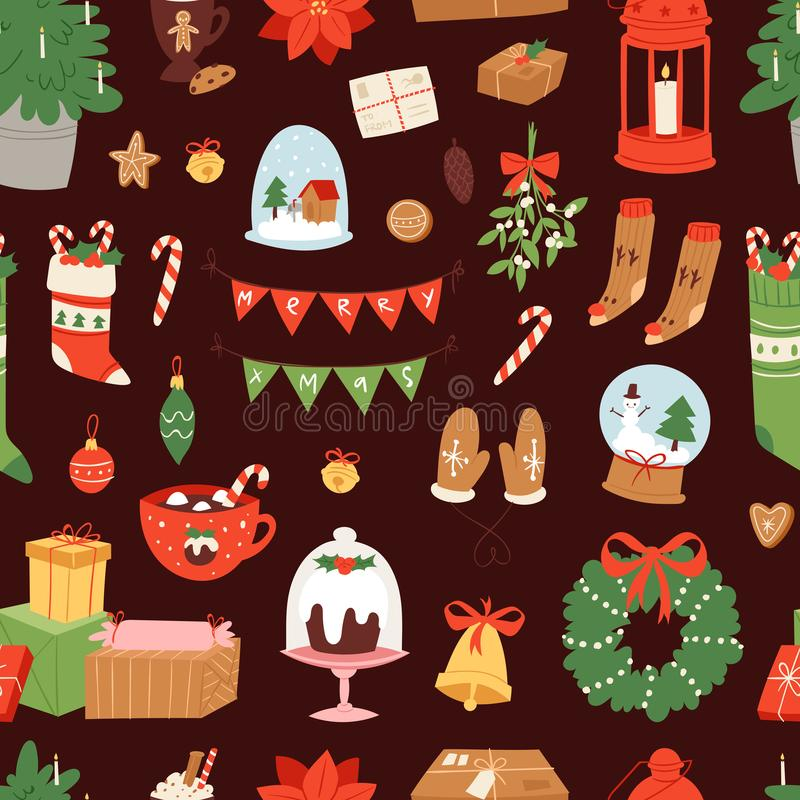 Vecteur de symboles d'icônes de Noël pour l'illustration de décoration de célébration de nouvelle année des symboles de fête d'or illustration de vecteur