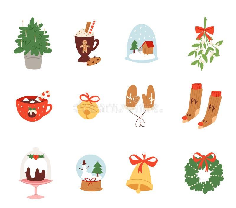 Vecteur de symboles d'icônes de Noël pour l'illustration de décoration de célébration de nouvelle année des symboles de fête d'or illustration stock