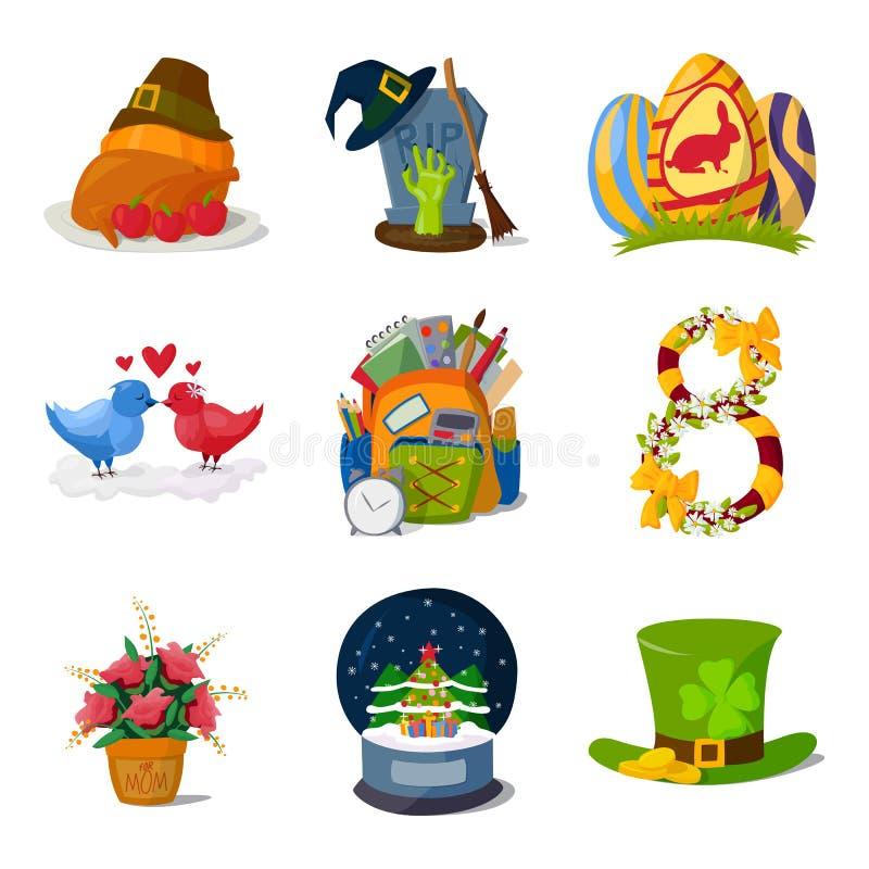 Vecteur de symboles de vacances illustration libre de droits