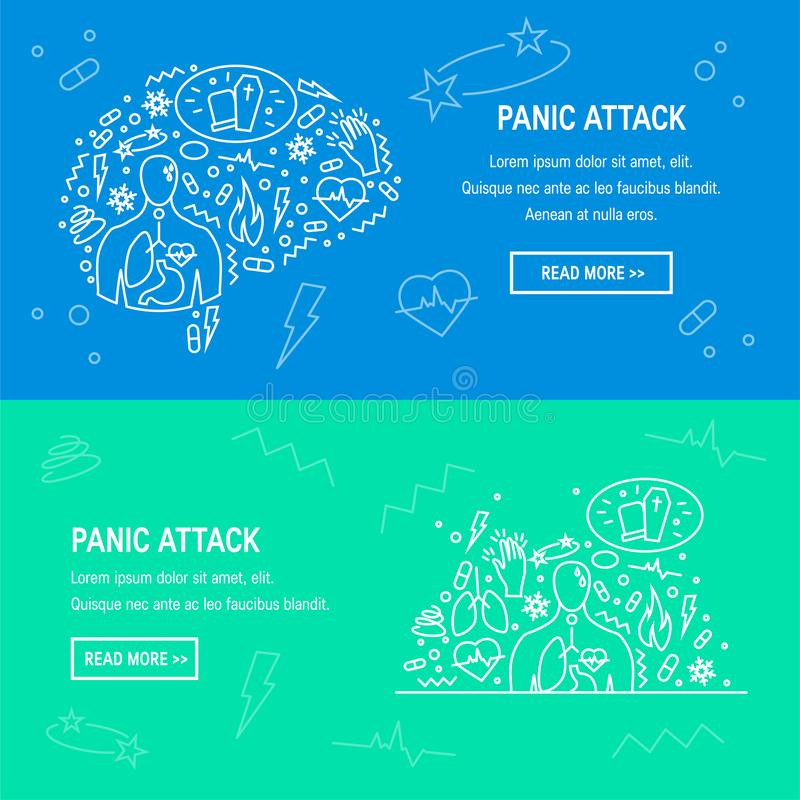 Vecteur de symptômes d'attaque de panique illustration de vecteur