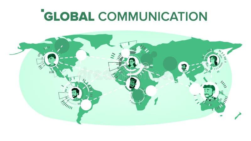 Vecteur de télécommunication mondiale Les gens sur la carte du monde Connexion de travail d'équipe Illustration d'isolement illustration stock
