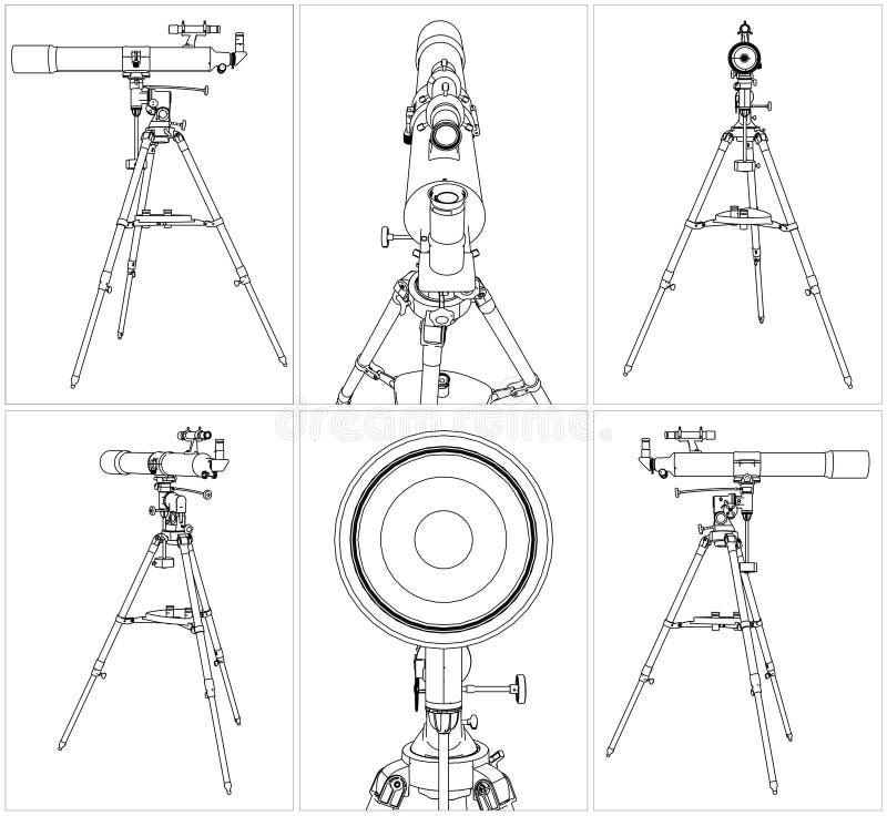 Vecteur 03 de télescope illustration stock