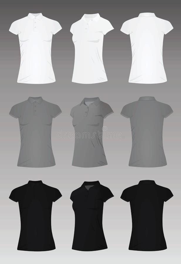 Vecteur de T-shirt de polo de femmes illustration stock