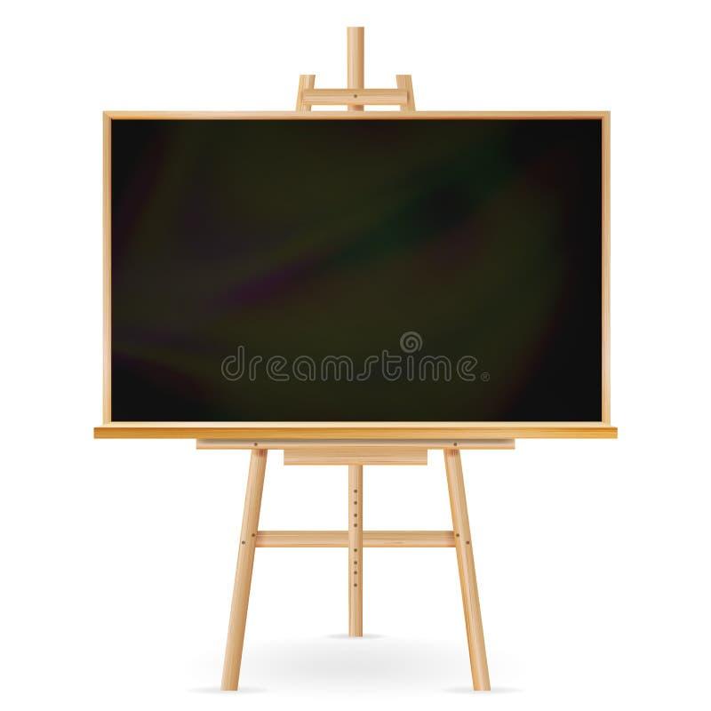 Vecteur de tableau noir d'école Cadre en bois Tableau vide classique d'éducation Illustration réaliste d'isolement illustration stock