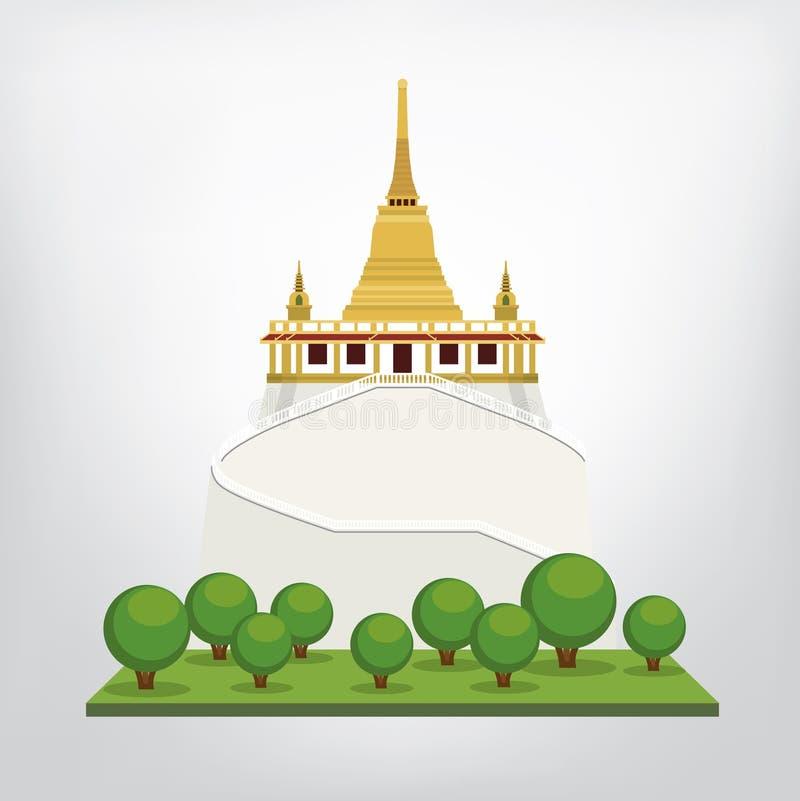 Vecteur de temple d'or de bâti, Bangkok, Thaïlande illustration de vecteur
