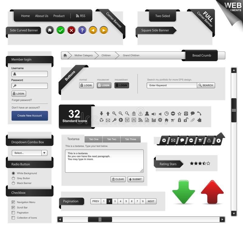 Vecteur de trame de descripteur d'élément de conception de Web illustration libre de droits